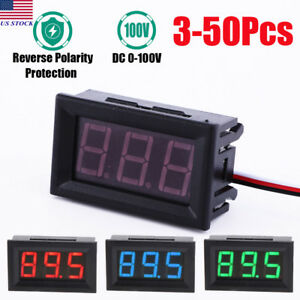 3 50 Pcs Gauge Voltage Pannel Dc 100v Red Blue Green Display Led Meter Voltmeter