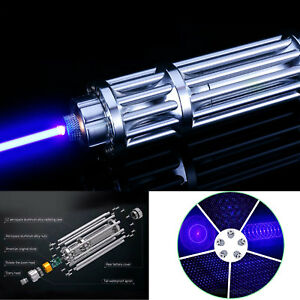 Blue Laser Pointer Match Burning Beam Lights Pen And 5 Star Caps High power