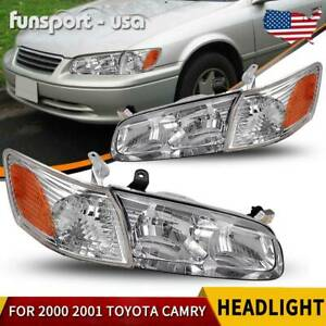 Headlights Assembly For 2000 2001 Toyota Camry Headlamps amber Corner Lamps Pair