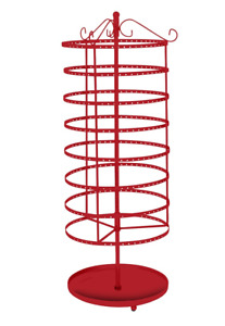 Earring Display Red Jewelry Rack 8 Tiered 24 Rotating Spins Holds 192 Pair