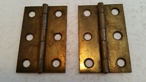 Nice Pair Old Vintage Brass Plated Hinges 1 1 2 X 2 1 2 210h