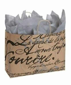 Paper Shopping Bags 100 Large Paris Script Retail Eiffel Tower 16 X 6 X 12
