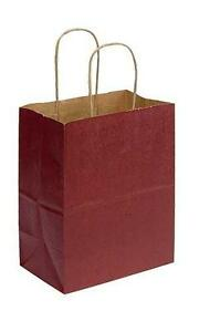 Paper Shopping Bags 100 Brick Red Retail Gift 8 X 5 X 10 Cub Merchandise