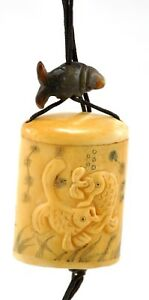 Vintage Bone Fish Ocean Inro Netsuke Box Hanging Charm Case Storage Pouch Open
