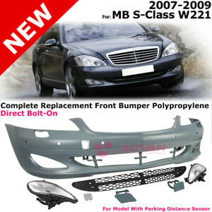Mercedes 2007 2009 S Class W221 Front Fascia Bumper Cover W Fog Lights Body Kit