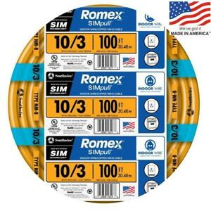 Southwire 63948426 Romex Simpull 100 ft 10 3 Non metallic Wire by the roll New