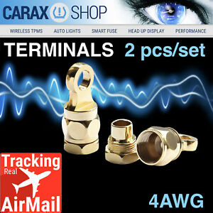 Ring Terminals 4 Awg 5 16 Wire Battery Starter Cable Eyelet Screw in Type Set