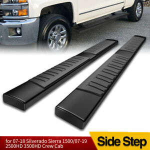 For 07 18 Chevy Silverado Crew Cab Black Side Steps 6 Nerf Bars Running Boards
