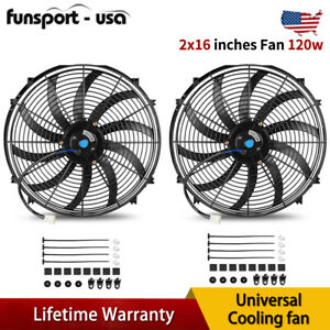 2x16 Inch Push Pull Electric Cooling Fan Hot Rod Engine Radiator Kit 3000cfm