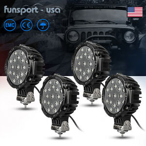 4x 7inch 51w Off road Led Work Light 4wd Atv Jeep Truck Reverse Fog Lamp Round