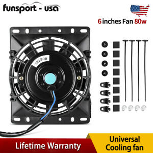 6 Inch Slim Push Pull Electric Cooling Fan Radiator Mount Kit Universal Dc12v