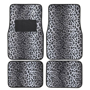 Gray Leopard Print Car Truck Suv Front Rear Premium Carpet Floor Mats 4pc Set