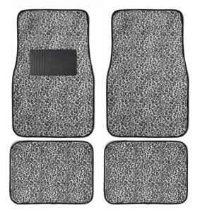 White Cheetah Print Car Truck Suv Front Rear Premium Carpet Floor Mats Set