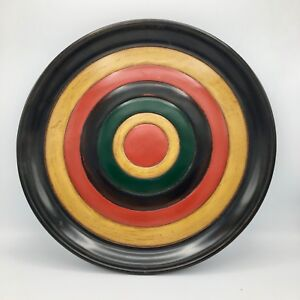 Traditional Japanese Shikki Lacquerware Large Plate Red Yellow Green