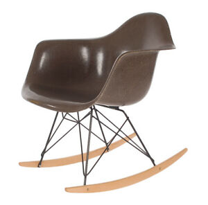 Chocolate Mid Century Eames For Herman Miller Fiberglass Rocking Lounge Chair