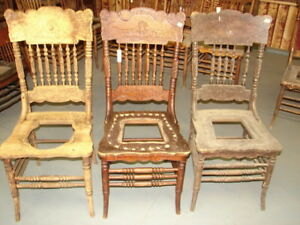63 2 Antique Pressed Back Chairs W Lion Face Spiral Spindles Restoration