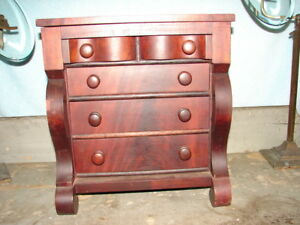Antique Miniature Empire Chest Of Drawers Mid 1800 S Jewelry Chest Nice