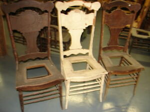 65 3 Matching Antique Pressed Back Chairs W Foral Press Restoration Great