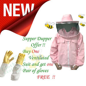 Massivebee Professional Beekeeping Jacket In Pink Round Veil Females Bees Jacket