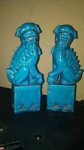 Vintage Antique Chinese Porcelain Turquoise Ceramic Pair Of Foo Dogs Excellent
