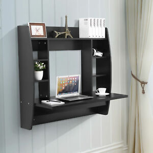 Black Floating Wall Mounted Office Computer Desk Home Office Table With Storage