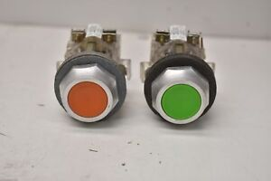 Westinghouse Push Button Switches Pb1a Green Orange Lot Of 2