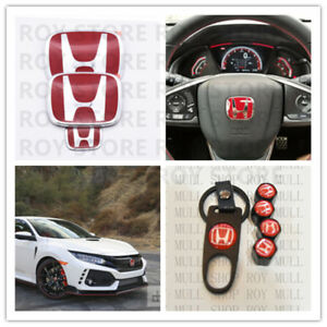 Racing Set Red H Emblem Front Rear Steering Wheel Fit 2016 18 Honda Civic Sedan