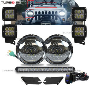 For Jeep Wrangler Jk Led Headlight Engine Hood Dual A Pillar Mount Led Light Bar