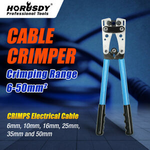 Large Wire Terminal Crimping Tool 6 50mm Cable Lug Crimper Cu al Terminal Plier