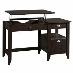 Sauder Shoal Creek Sit And Stand Lift Top Desk In Jamocha Wood