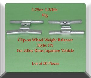 1 75 Oz Clip on Wheel Weight Fn Style For Alloy Rims Japanese Vehicles 50 Pcs