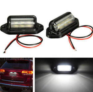 2pcs 12v Car Truck License Plate White Led Light Lamp 6000k Waterproof Universal