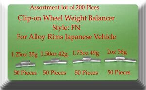 200Pc Assort Clip-On Wheel Weight FN for Alloy Rim Japan Cars 1.25 1.50 1.75 2oz