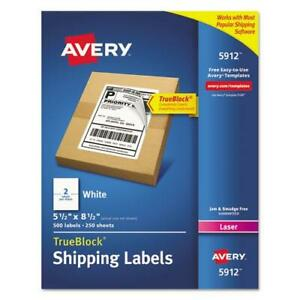 Shipping Labels With Trueblock Technology Laser 5 1 2 X 8 1 2 White 500 box