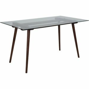 Meriden 31 5 X 55 Solid Walnut Wood Table With Clear Glass Top