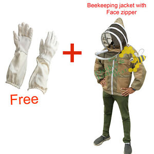 Massive Bees 3 Layer Ultra Ventilated Beekeeping Jacket Khaki Color Brass Zipper