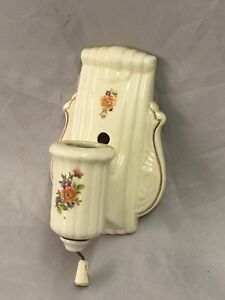 Vtg Ceramic Porcelain Bathroom Shabby Floral Chic Wall Light Sconce 84 18e