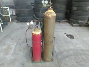 Oxygen Acetylene Cutting Torch Full Kit With Cart Hose Gauges Goggles