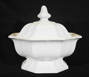 Large Antique T R Boote White Ironstone Boote 1851 Octagonal Footed Tureen