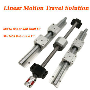 Cnc Linear Motion Kit Sbr16 Rail Shaft sfu1605 Rolled Ballscrew Ballnut Bracket