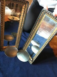Matching Candle Wall Sconces Mirror And Glass Beaded Black Tin