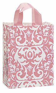 Plastic Bags 50 Pink White Damask Frosted Frosty Merchandise Gift 8 X 5 X 10
