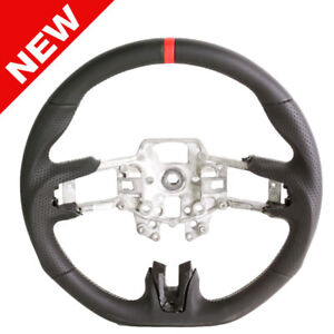 Handkraftd 2015 2017 Ford Mustang Steering Wheel Black Leather W silver Stitch