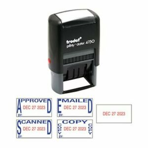 Trodat Economy 5 in 1 Date Stamp Self inking 1 X 1 5 8 Blue red usse4756