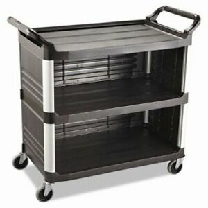 Rubbermaid 4093 Utility Cart W enclosed End Panels On 3 Sides Blk rcp4093bla