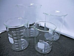 Lot Of 3 Pyrex Glass 1000ml Griffin Low Form Beaker 1000 Dual Metric Scale