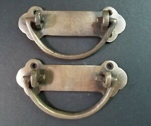 2 Antique Solid Brass Dresser Tool Chest Trunk Handles 4 W Z24
