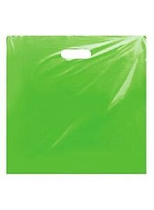 Plastic Bags Lime Green 500 Shopping Merchandise Diecut 20 X 20 X 5 Low Density