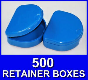 500 Dark Blue Denture Retainer Box Orthodontic Dental Case Mouth Ortho Brace