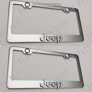 2x 3d Emblem Stainless Steel License Plate Frame Rust Free For Jeep Cherokee